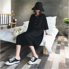 2019 new style l fat sister versatile black short sleeve dress female long section of the dress 200 Jin Black L L