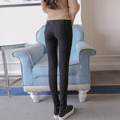 Maternity pants plus velvet thick pregnant women denim trousers washing water denim outer wear trousers Spot Black  m