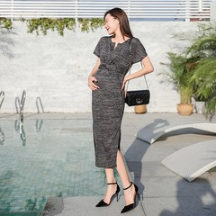 Real shot summer New Style Korean-style pregnant women dress collarless shirt dress comfortable breathable long out bu ru qun Jorg gray M