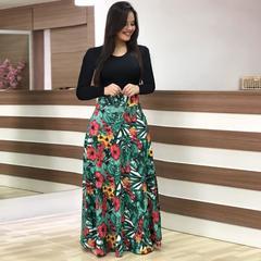 2019 Women Flower Printed Sexy Long sleeve Dresses Ladies Dress 2XL Leaf