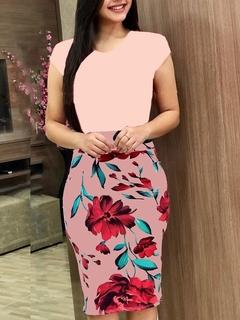 Women Floral Print Bodycon Dresses Short Sleeve Slim Sexy Bodycon Dresses m pink