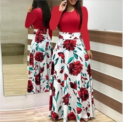 2019 Women Flower Printed Sexy Long/short sleeve dresses Ladies Dress m Long Sleeve Red