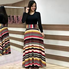 2019 Women Flower Printed Sexy Long/short sleeve dresses Ladies Dress s Long Sleeve colorful Stripe