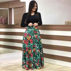 2019 Women Flower Printed Sexy Long/short sleeve dresses Ladies Dress 3xl Long Sleeve Leaf