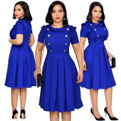 Women Business A-line Dress Office Lady short sleeve mini dress xl blue