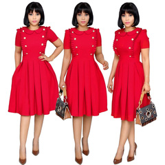 Women Business A-line Dress Office Lady short sleeve mini dress s red