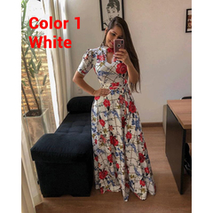 S-5XL Plus size Multiple colors Short sleeve women dress Flower printing  party Beach long dress s Color 1