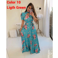 S-5XL Plus size Multiple colors Short sleeve women dress Flower printing  party Beach long dress 5xl color 10