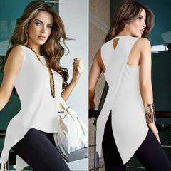 Women fashion trend sleeveless back crossed slim shirt T-shirt Tops White s