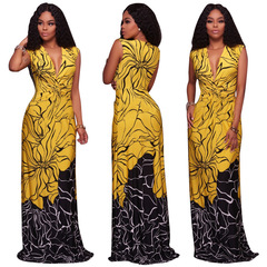 Women Sleevelss Flower Printed Beach Long Maxi Dress l yellow