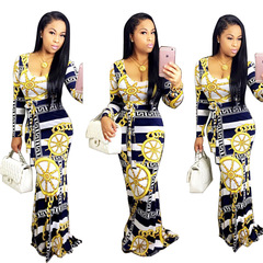 Women Long Sleeve Printed Round neck Long Maxi Dress Ladies Party Dress l dark blue