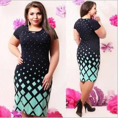 Women's fashion plus-size Lady print short sleeve dress 5xl green