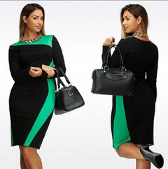 Women Long Sleeve Mixed Color Lady Plus Size Dress 6xl green