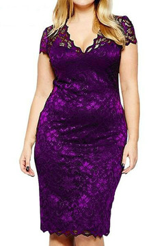 Plus Size S-5XL Women short Sleeve Lace Dress Office Lady Lace Slim Bodycon Dress 5xl purple