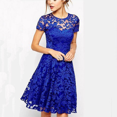 Plus Size Women Short Sleeve Lace Dress Office Lady A-line Mini Dress 5xl blue