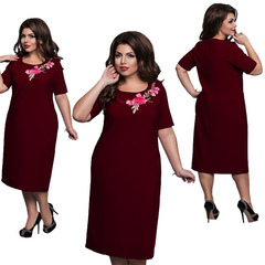 Women Flower Print Short Sleeve Dress Office Lady Plus Size Dress 6xl wine red