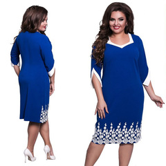 Women Half Sleeve Lace Bottom Plus Size Dress Office Lady Dress 6xl blue