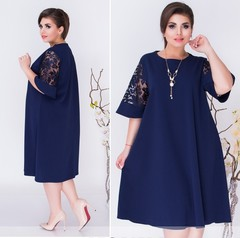 Women Lace Sleeve Short Sleeve Plus Size Dress 5xl navy blue
