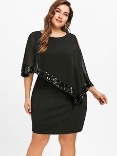 2019 New Summer Irreular Splice Chiffon Lady Dress Paillette Big Size Dress 5xl black
