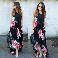 2019 Summer Long Floral Back Cross O-Neck Casual Dress s black