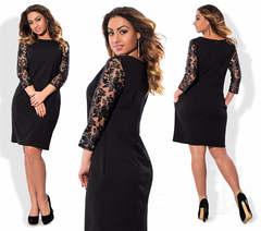 Elegant Fashion OL Spliced Lace Women Dress Half Sleeve New Style Plus Size  Lady Dress 3xl black
