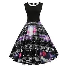 2019 hot style promotion,  women's dresses,sleeveless printed retro dresses with big dresses m black
