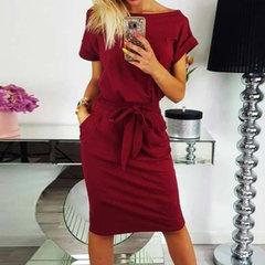 Hot style fashion round collar slim pocket belt dress dress Women's Casual BowTie Dress l red