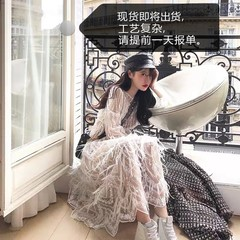 Lu clean water yunzi cariedo Independent design Limited high feather elegant dress 2 A version Off-white S
