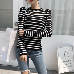 Real shot Autumn port taste vintage chic mock-neck striped jumpers schoolgirl stretch slim basic bottoming shirt  apricot One size