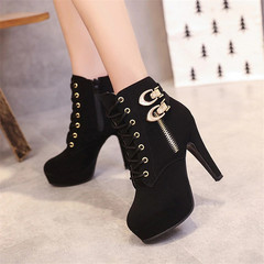 Women Boots High Quality Solid Lace-up European Ladies shoes PU Fashion high heels Boots black 37