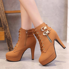 Women Boots High Quality Solid Lace-up European Ladies shoes PU Fashion high heels Boots brown 35