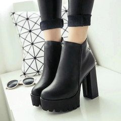 Women's Fashion Side Zipper Ankle Boots Platform Thick High Heel Ladies Boots Winter Woman Shoes black 39