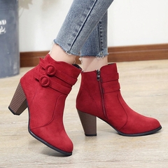 Women Boots High Heels Ladies Shoes Women Shoes Casual Shoes Autumn Comfortable Boots red 35