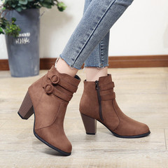 Women Boots High Heels Ladies Shoes Women Shoes Casual Shoes Autumn Comfortable Boots brown 43