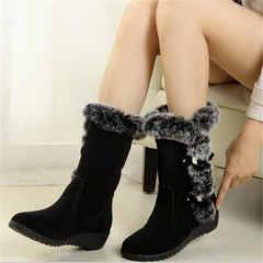 Women Boots Thigh High Suede Mid-Calf Boots Autumn Flock Winter Ladies Fashion Snow Boots Shoes black 35