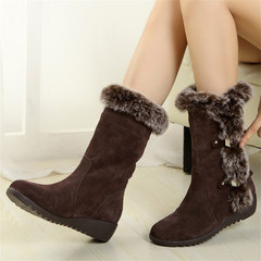 Women Boots Thigh High Suede Mid-Calf Boots Autumn Flock Winter Ladies Fashion Snow Boots Shoes brown 35