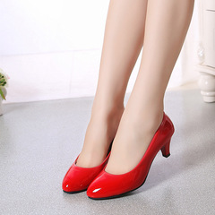 Patent leather Low Heels Shoes Women Professional Shoes Ladies Shallow Mouth Work Shoes Office Shoe red 35