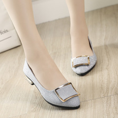 Women Flats Cool Golden Buckle Flat Shoes Women Loafers Ballet Flats Black Shoes Casual Pointed Toe silver 35