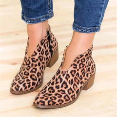 2019 Leopard Print Pointed Toe Ankle Boots Slip on Deep V High Heel Lady Party Dress Women  Shoes leopard 39