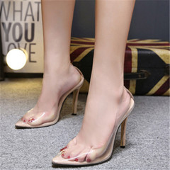 Clear PVC Transparent Pumps Sandals Perspex Heel Stilettos High Heels Point Toes Womens Party Shoes beige 35