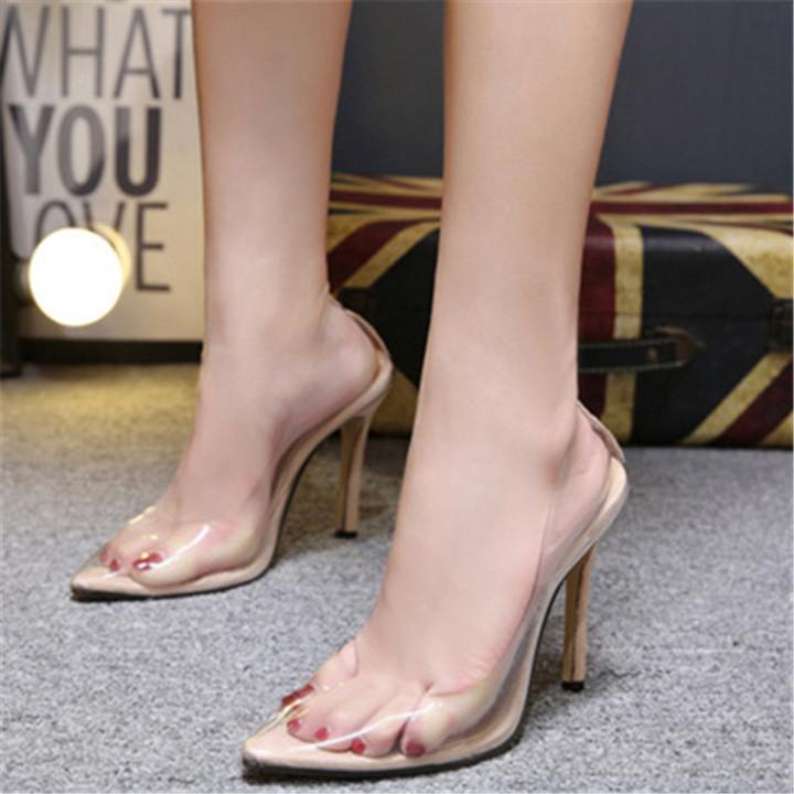 Clear PVC Transparent Pumps Sandals Perspex Heel Stilettos High Heels Point Toes Womens Party Shoes beige 35