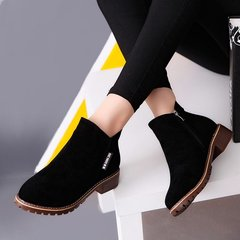 Women Ankle Boots Short Martin Boots Chunky Heels Boots Female Fashion Shoes black 39