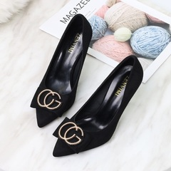 Women's Shoes Pointed Stiletto Shallow Mouth Ladies High Heels Women's Single Shoes black 37
