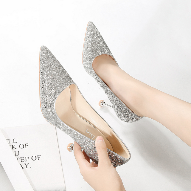 Women's Shoes High Heels Sexy Pointed Stiletto Shallow Mouth Nightclub Sequins Banquet silver 37