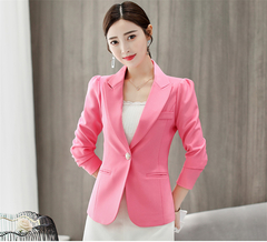 ROSE 2019 New Fashion Was Thin Wild Suit Casual Long-sleeved Solid Color Trend Small Suit pink xxl