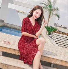 ROSE Women Dress Wave Dot Dress Elegant Office Lady Vestido De Festa Dress Vestido Short Red Dresses xl red