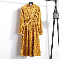 ROSE Corduroy High Elastic Waist Vintage Dress A-line 2019 Women Full Sleeve Floral Print Dresses xl 12