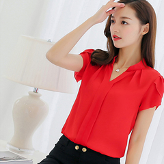 ROSE Women Shirt Chiffon Tops Short Sleeve Elegant Ladies Formal Office Blouse  clothing red s