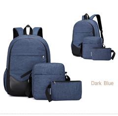 GIHG 3pcs/Set Mens Backpacks  Travel Nylon Backpacks Teen Shoulder School Bags Clutch Bags blue one size
