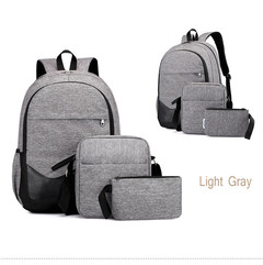 GIHG 3pcs/Set Mens Backpacks  Travel Nylon Backpacks Teen Shoulder School Bags Clutch Bags light gray one size